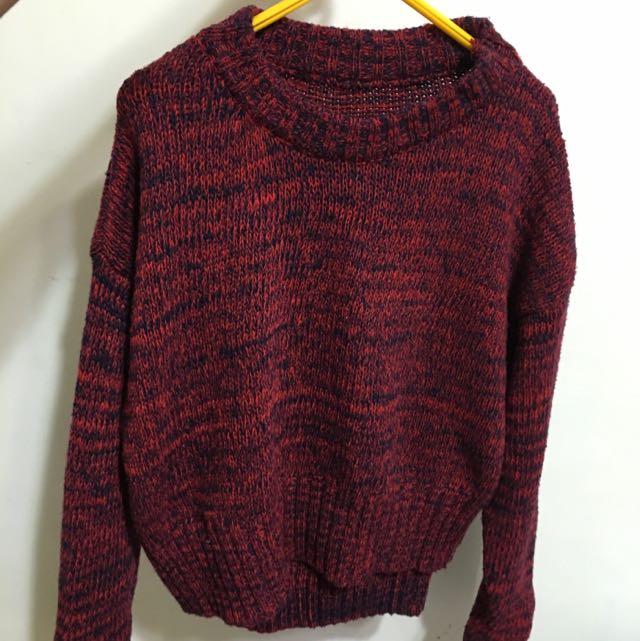 全新 秋冬毛衣兩件式套裝 毛衣+包裙 棗紅色(NT$200)