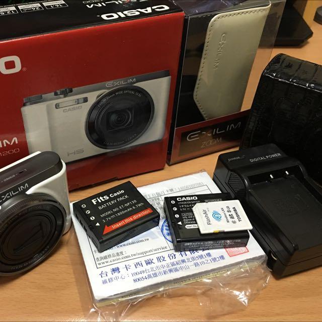 卡西歐 ZR1200 全配加送wifi記憶卡8G,兩顆電池,原廠皮套兩個