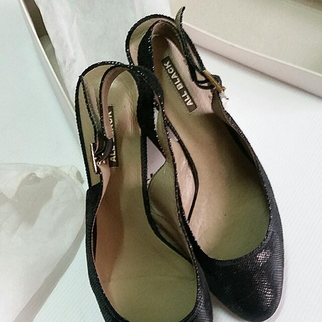 All Black 黑色亮面5cm高跟鞋