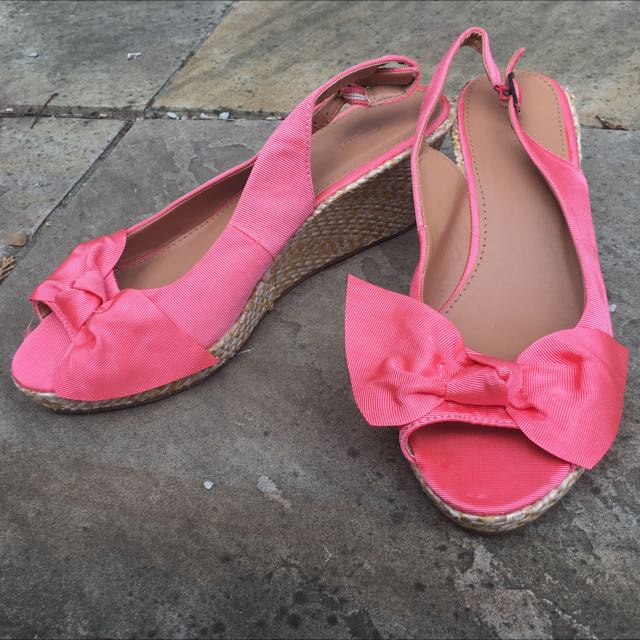 Coral Pink Bow Wedge