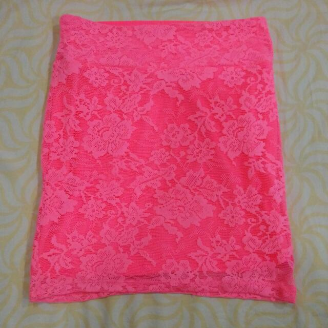 Cotton On Pink Floral Lace Bodycon Skirt