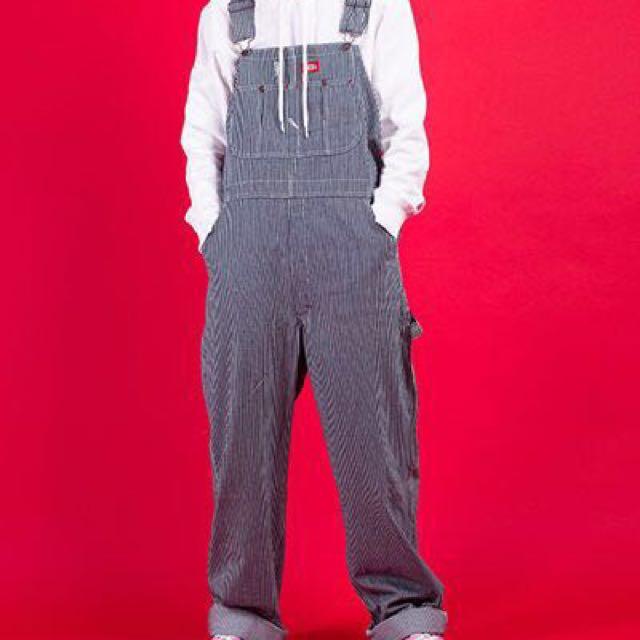DICKIES 條紋吊帶褲 最小號 極新