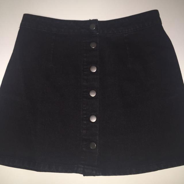 Dotti Denim Button Down Skirt NEW
