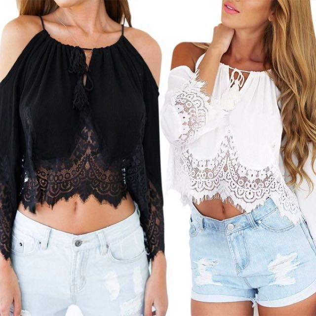 287645536e9cc Instock Black Boho Bohemian Cut out Off Shoulder Lace Top on Carousell