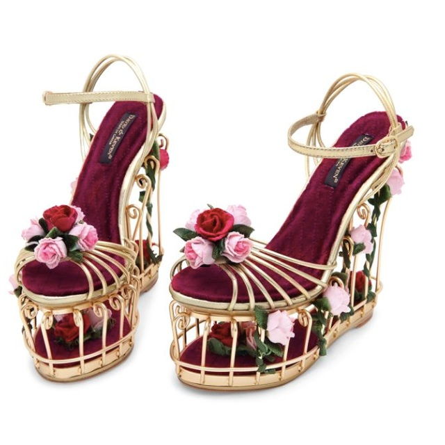 11db81154e8 Rose Embellished Metallic Leather Cage Sandals
