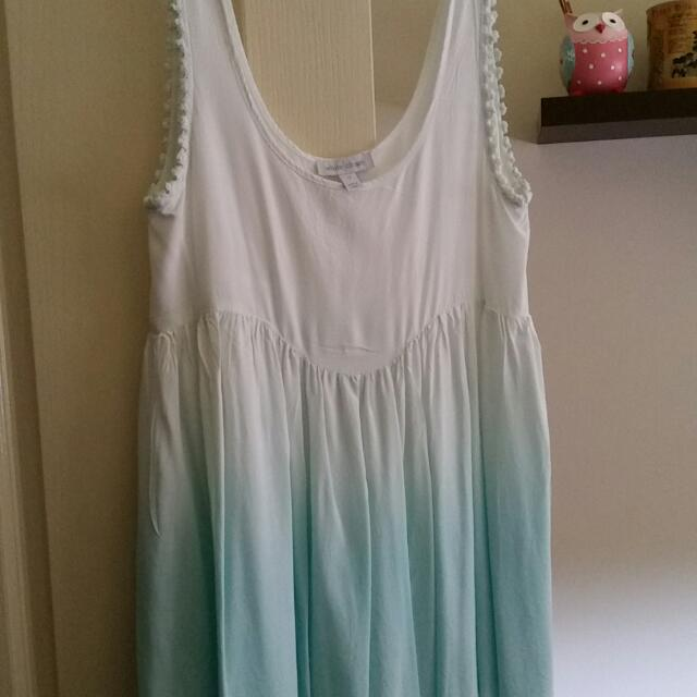 White And Skye Blue Ombre Dress