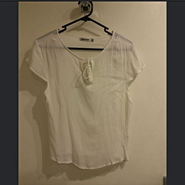 White Linen T Shirt