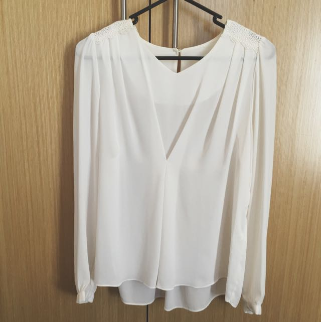 White Shirt For Work From Korea With Lace Details On Shoulder