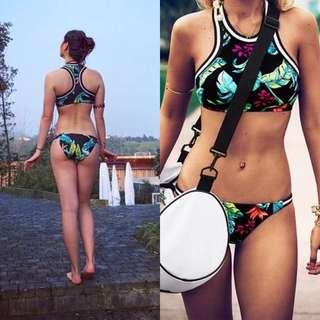 Avance實拍圖歐美日韓度假渡假海邊春夏運動泳衣泳裝比基尼印花復古削肩無鋼圈有胸墊
