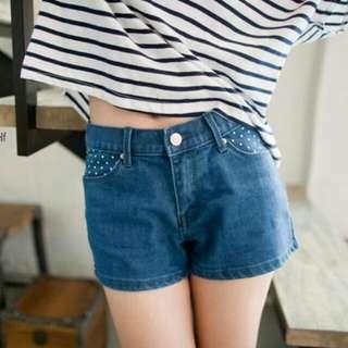 Lulus復古原色點點牛仔短褲