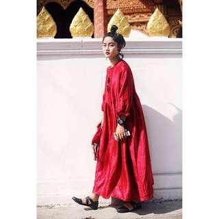 復古旗袍扣燈籠袖摩登大紅裙金屬光澤面料