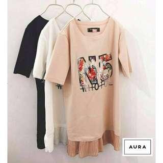 韓版N5黑色短袖雪紡拼接上衣洋裝