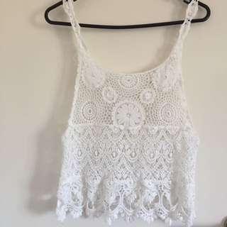 Romantic White Knit Top Size S
