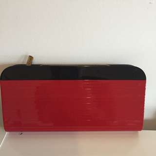 MIMCO Hard Case Clutch, Red And Black!