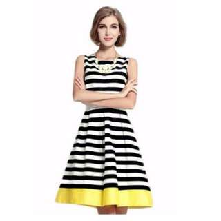 Clearance - BN Stripe pleated Flare Dress (include free normal mail)