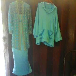 1.Kebaya Moden Blue Turquoise (S) Size Dress Dalam Chiffon/ Cover Lua Lace Condition Tip Top 2. Baju Melayu ( M) Size Warna Blue Turquoise Kain Jenis Chiffon Condition Tip Top