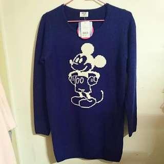 🆕NET 迪士尼米奇長版針織上衣毛衣 寶藍