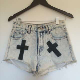 Size 7 Denim Shorts With Crosses