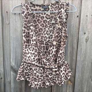 Silk Leopard Print Wrap Vest