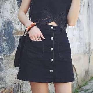 簡約單排扣高腰牛仔裙
