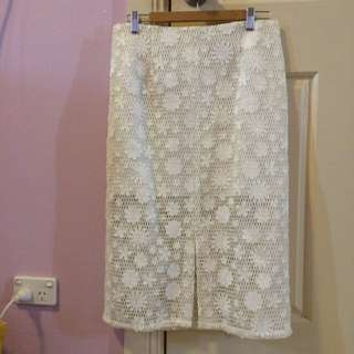 Asos White Patterned Skirt (Size 14)
