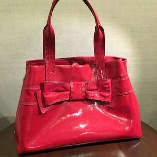 Brand New Kate Spade Red Patent Leather Tote Bag With Ribbon