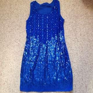 Shinning Blue Dress Free Size