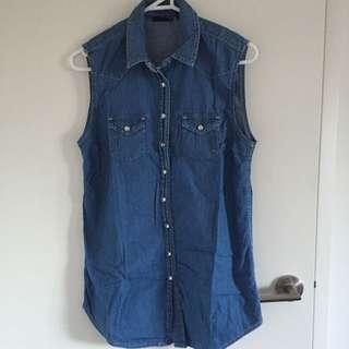 Top Shop Jeans Blouse Size 34