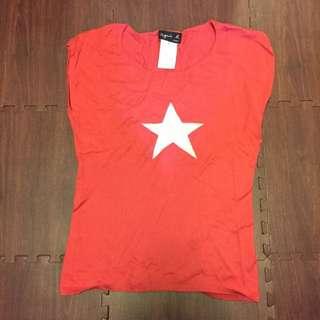 Agnes.b橘紅色薄線衫 無袖短袖
