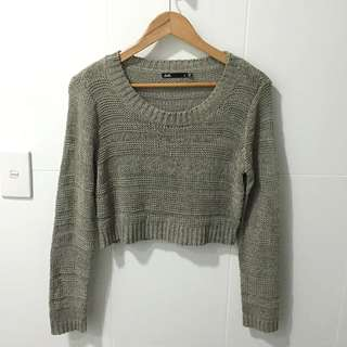 Dotti Grey Crop Knit - Size Small