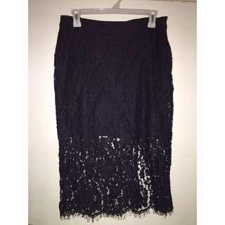 Navy Blue Lace Midi Skirt