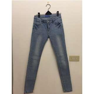 (免運、全新)韓版淺色刷白合身牛仔褲 長褲 牛仔褲