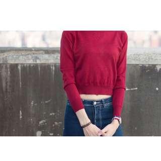 (免運、全新)針織酒紅短版上衣