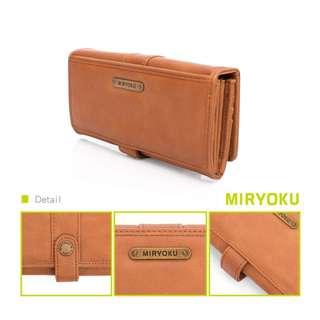 Miryoku經典復古皮革系列✨個性刷色質感長夾(駝)