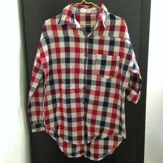 二手 | 紅藍白格紋長版襯衫