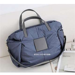 正韓 灰色 方塊皮飾空氣手提肩背兩用包 媽媽包