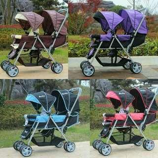 嬰兒推車 雙人推車(含運) 前後座椅 雙胞胎最愛 寶寶戶外用品