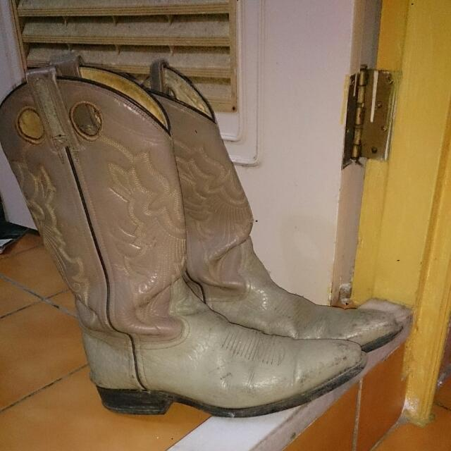 美軍古著西部牛仔雕花真皮刺繡短靴26.5
