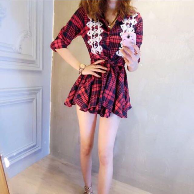 紅色格紋襯衫洋裝