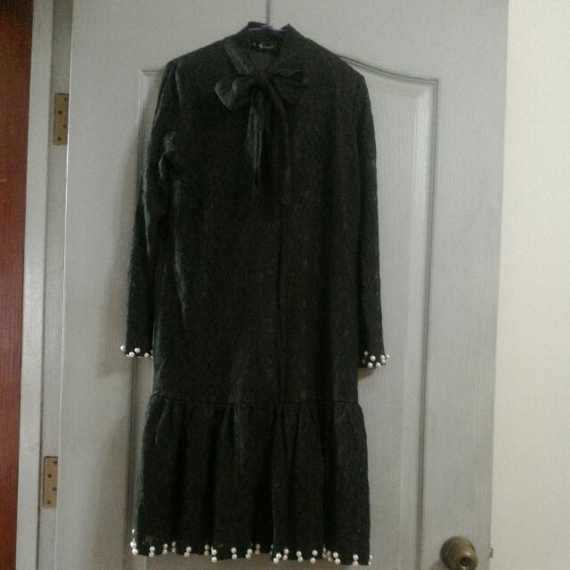 (降價)墨綠蕾絲透膚洋裝