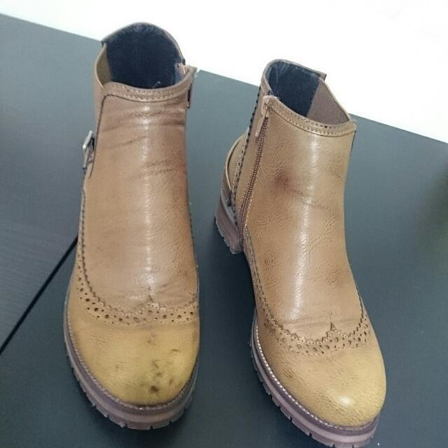 仿真皮舊皮革拉鍊短靴裸靴粗跟牛津鞋