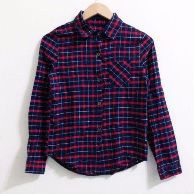 深紅格紋單口袋襯衫