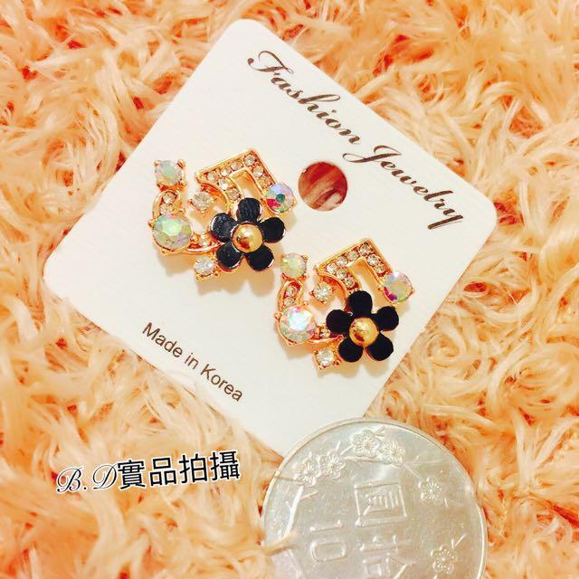 年終特惠 正韓數字5花朵水鑽耳環