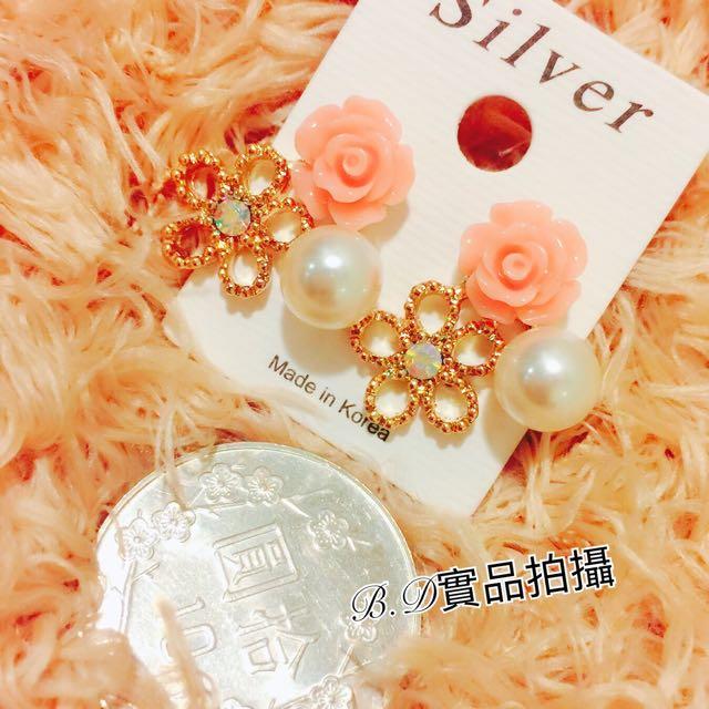 年終特惠 正韓甜美花朵珍珠氣質耳環