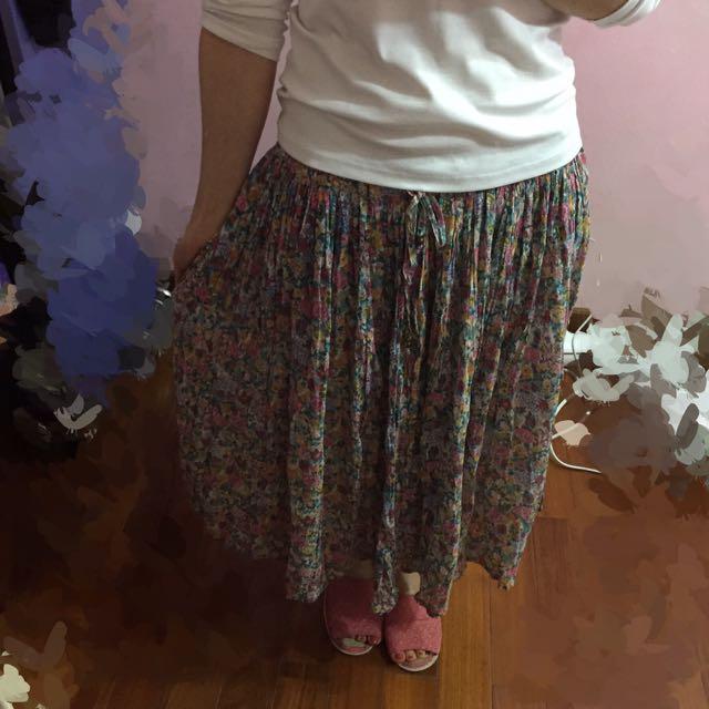 日本製 小碎花長裙