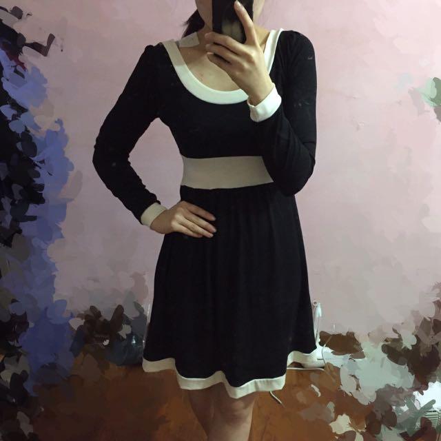 韓 黑白 小香風 連身洋裝