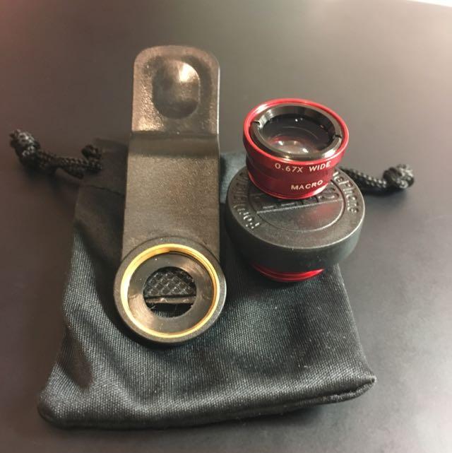 《全新》廣角/微距/魚眼 三合一 手機平板 通用型夾式鏡頭(紅)