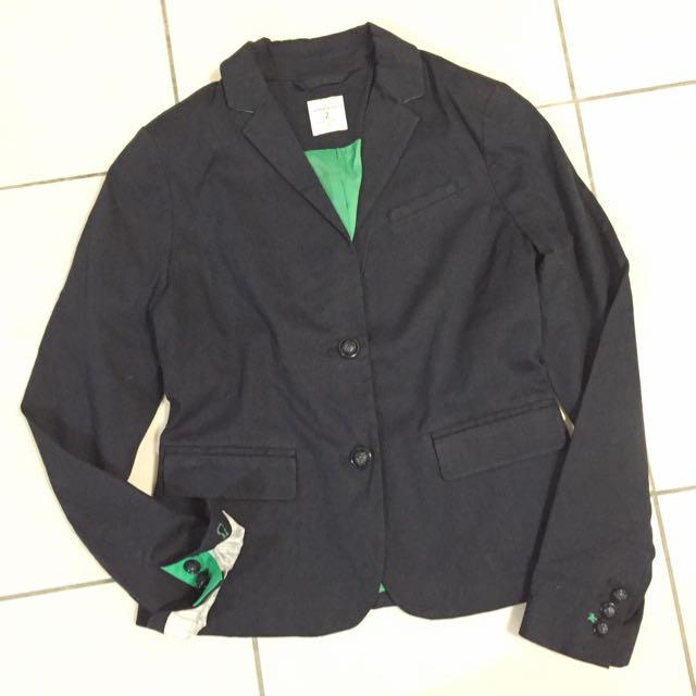 全新 Gap 深藍黑色 小領設計西裝款外套