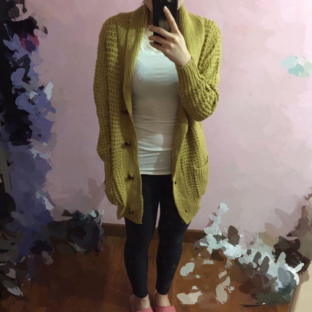 專櫃品牌 Sen 芥末黃針織罩衫 長版外套