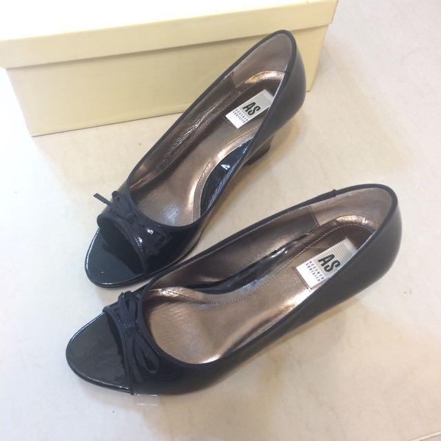 AS黑色漆皮楔型鞋魚口鞋高跟鞋